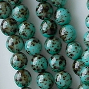6mm Turquoise Speckled Coated Beads [50]