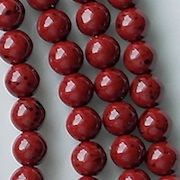 6mm Red Speckled Coated Round Beads [50]