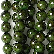 6mm Dark Green Speckled Coated Beads [50]