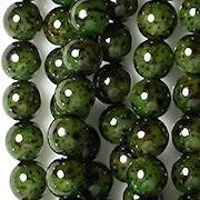 6mm Dark Green Speckled Coated Round Beads [50]