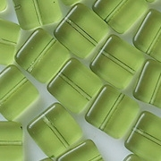 9mm Olive Green Flat Square Beads [50] (see Defects)