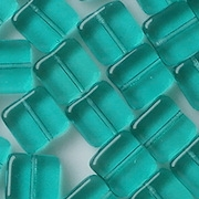 9mm Teal Flat Square Beads [50] (see Defects)