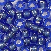 4x6mm Sapphire Blue Silver-Lined Pony Beads [50] (see Defects)