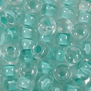 6mm Light Aqua-Lined Pony Beads [50] (see Defects)