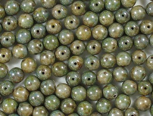 8mm Mottled Green Round Beads [25]