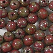6mm Red Picasso Round Beads [50]