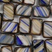 12mm Blue/Orange Striped Polished Rectangle Beads [10]