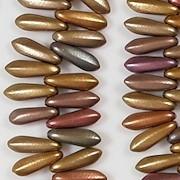 11mm Gold Iris Coated Dagger Beads [85]
