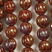 8mm Red Bronze Iris Fluted Beads [25]