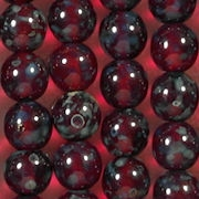 8mm Ruby Red Picasso Round Beads [50]