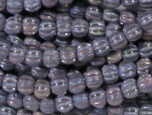4mm Blue Iris Matte Fluted Beads [100] (see Comments)