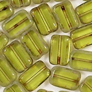 12mm Light Olive Green Picasso Polished Rectangle Beads [20]