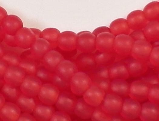 4mm Siam Ruby Red Matte Round Beads [100]
