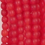 4mm Siam Ruby Red Matte Round Beads [100]
