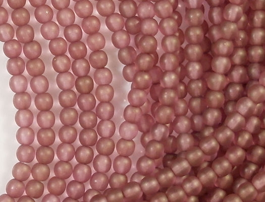 4mm Pink/Gold Matte Round Beads [100]