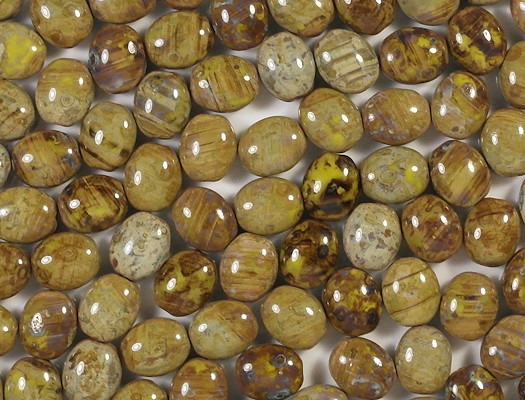 11mm Mustard Yellow Picasso Oval Beads [15] (see Defects)