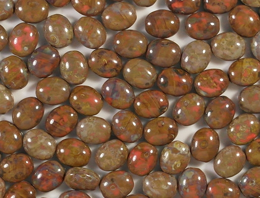 11mm Orange/Brown Picasso Oval Beads [15]