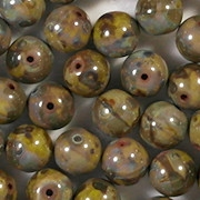 8mm Chartreuse/Brown Picasso Round Beads [25]