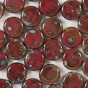 8mm Opaque Red Mottled Coin Beads [25]
