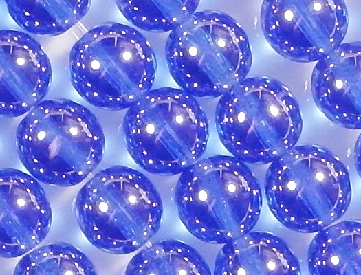 8mm Medium Blue Luster Round Beads [50]
