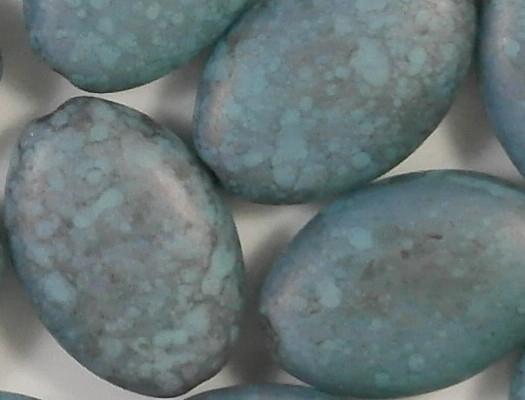 19mm Wedgewood Blue Mottled Matte Flat Oval Beads [5]