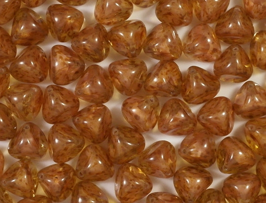 13mm topaz/pink Mottled Pinched Bead [7]