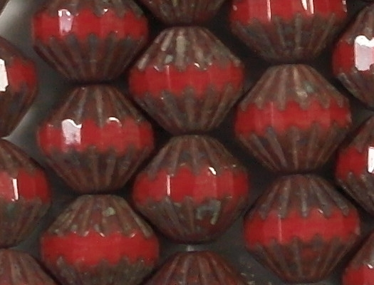 8x9mm Opaque Red Picasso Fluted Saucer Beads [25]