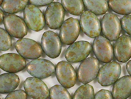 19mm Green Picasso Flat Oval Beads [5]
