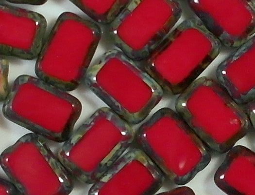 12mm Opaque Red Picasso Polished Rectangle Beads [20] (see Comments)