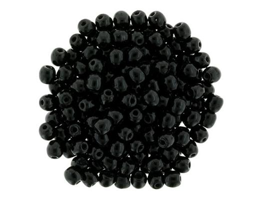 3mm Jet Black Round Beads [100]