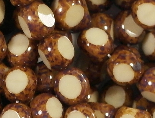8mm Beige/Brown Picasso 3-Cut Round Beads [25]