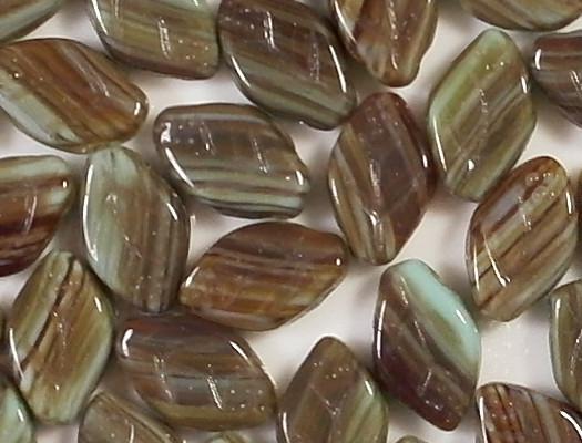 12mm Brown/Aqua Striped Leaf Beads [25]