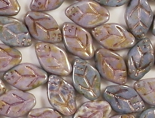 12mm Mottled Lavender/Topaz Leaf Beads [25]