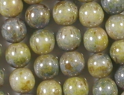 8mm Mottled Green Luster Round Beads [25]