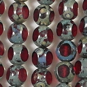 8mm Siam Red Picasso 3-Cut Round Beads [25] (see Comments)
