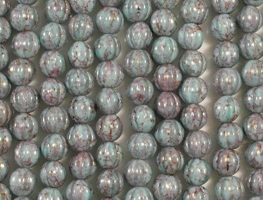 8mm Opaque Aqua/Purple Picasso Luster Fluted Beads [25]