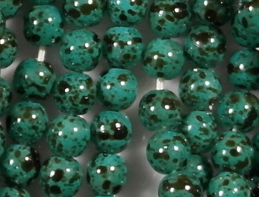 4mm Turquoise Speckled Coated Round Beads [100]