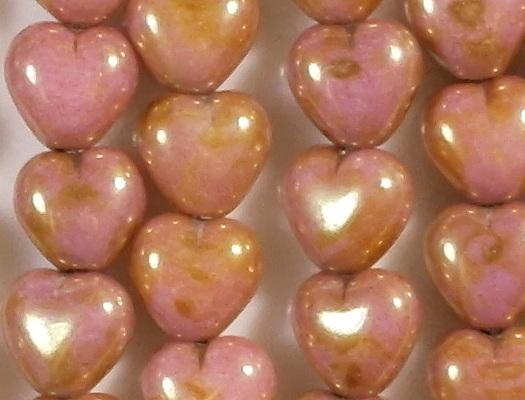 6mm Opaque Pink/Topaz Heart Beads [50]