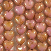 6mm Opaque Pink/Topaz Heart Beads [50]