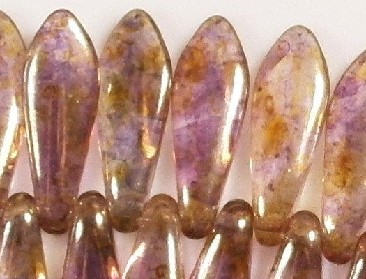 15.5mm Light Violet/Gold Luster Dagger Beads [50]