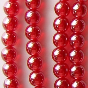 6mm Siam Ruby Red Luster Round Beads [50]