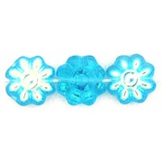 9mm Aqua AB Daisy Beads (50)