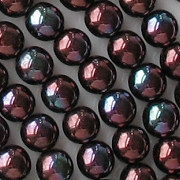 6mm Opaque Reddish-Purple Iris Round Beads [50]
