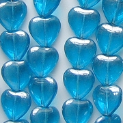 10mm Aqua Luster Heart Beads [50]