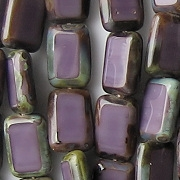 12mm Amethyst Picasso Polished Rectangle Beads [20] (see Comments)