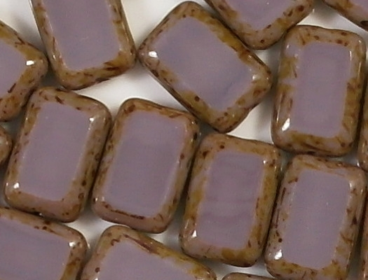 12mm Amethyst Picasso Polished Rectangle Beads [20]