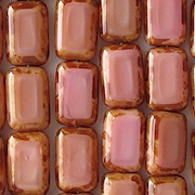 12mm Coral Pink Picasso Polished Rectangle Beads [20] (see Comments)