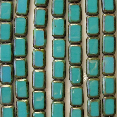 12mm Turquoise Picasso Polished Rectangle Beads [20] (see Comments)