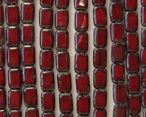 12mm Oxblood Red Picasso Polished Rectangle Beads [20] (see Comments)