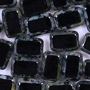 12mm Black Picasso Polished Rectangle Beads [20]